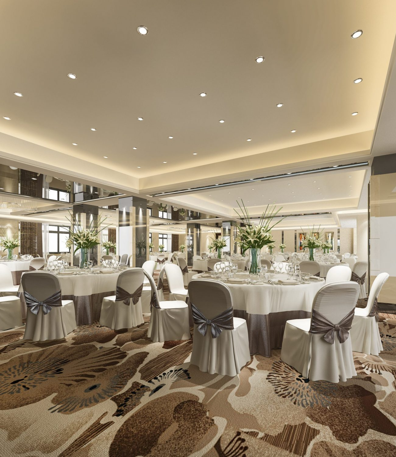 3d rendering seminar meeting and banquet hall room